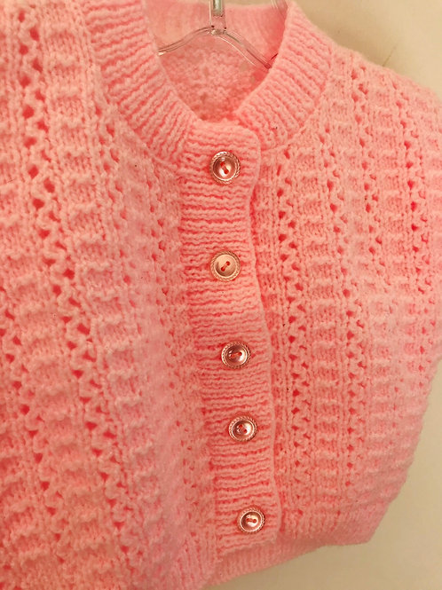 Baby Pink Corded Rib Knitted Cardigan