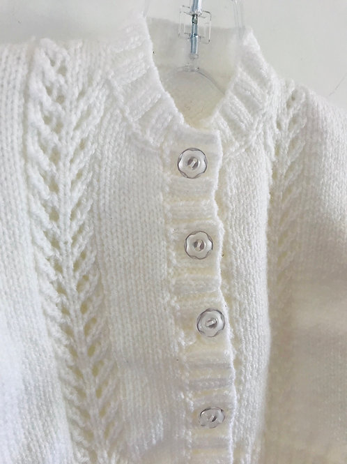 White Soft Touch Purl Knitted Cardigan