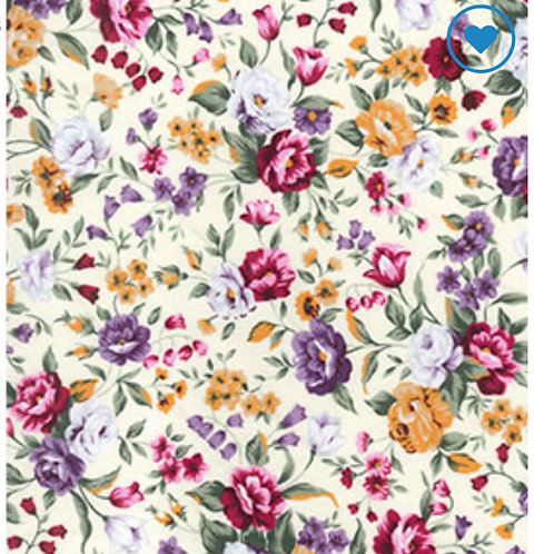 Cream Floral - Fabric Option for Clothing