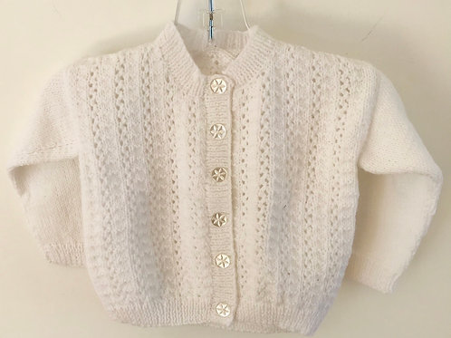 White Corded Rib Knitted Cardigan