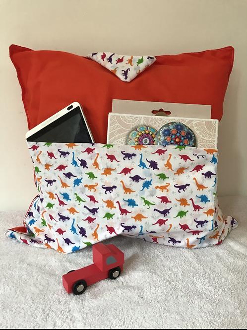 Travel Cushions - Orange Dinosaurs