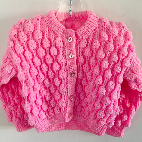 Pink Bobble Knitted Cardigan