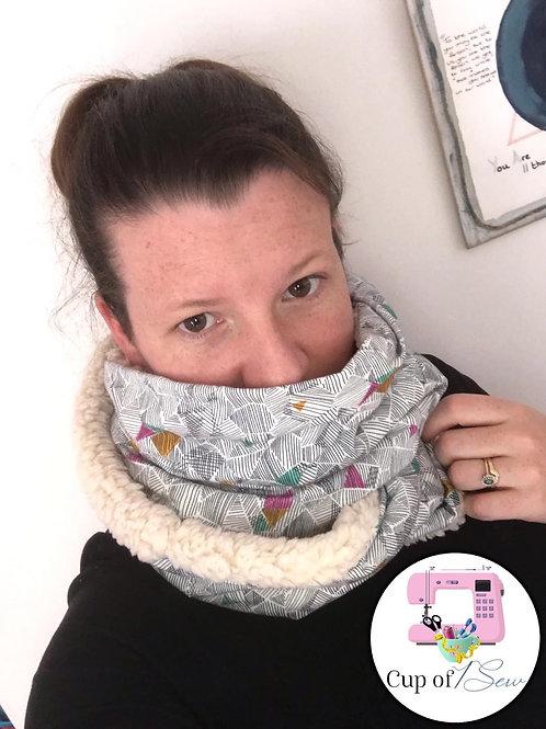 Sherpa Fleece lined Geo Print infinity scarf