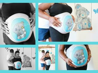 Bellypaint bij een babyshower
