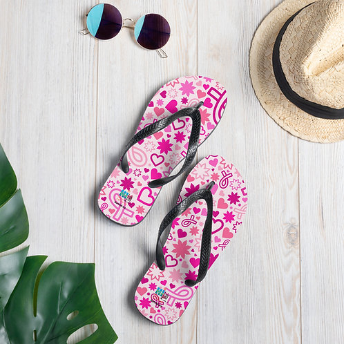 Pink and White Breast Cancer Slippers