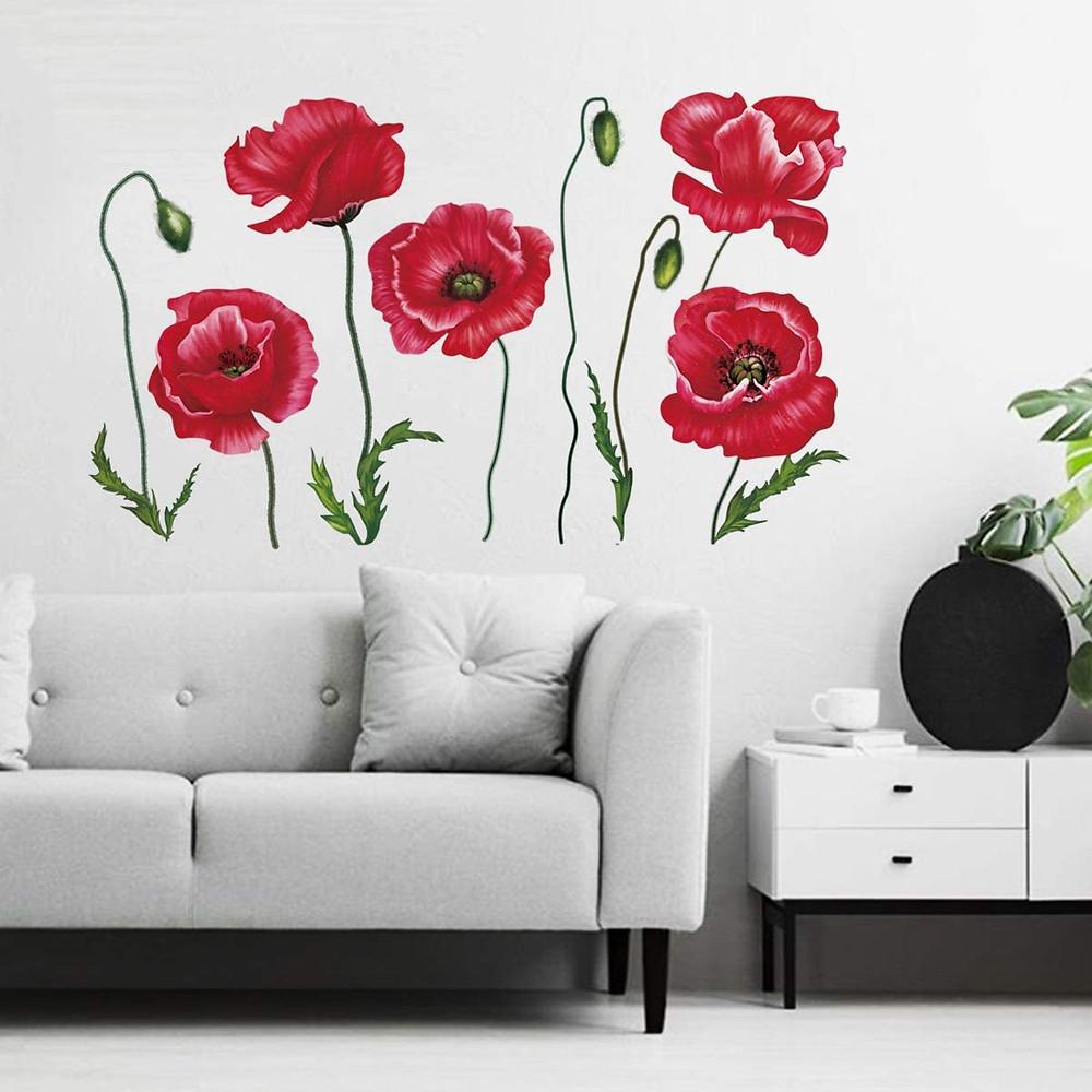 Vinilos de amapolas para dar color a tu salón