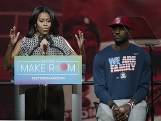 First Lady Michelle Obama and LeBron James promote education