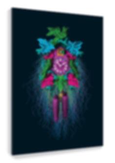 AL35 Wandbild als Kuckucksuhr bunt Popart Selina Haas Platte Fäden
