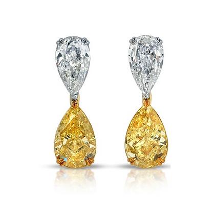 PLATINUM AND 18K DIAMOND EARRINGS