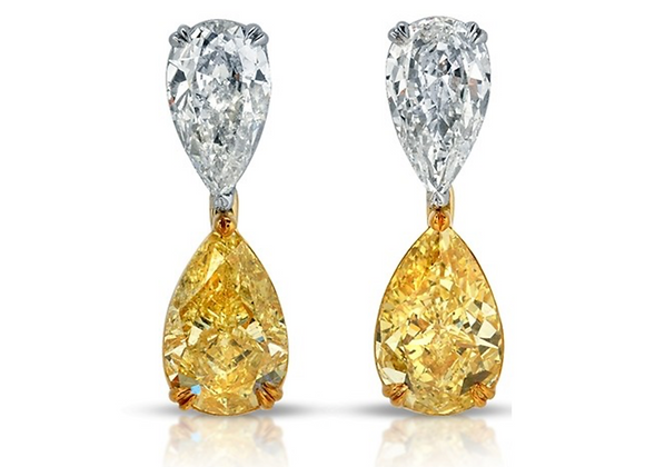 PLATINUM AND 18K DIAMOND EARRINGS