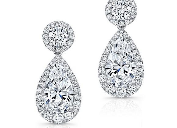 18K PEAR-SHAPE DIAMOND EARRINGS