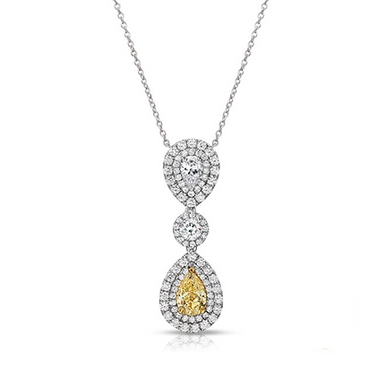18K DIAMOND PENDANT WITH YELLOW DIAMOND