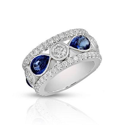 18K DIAMOND AND BLUE SAPPHIRE BAND