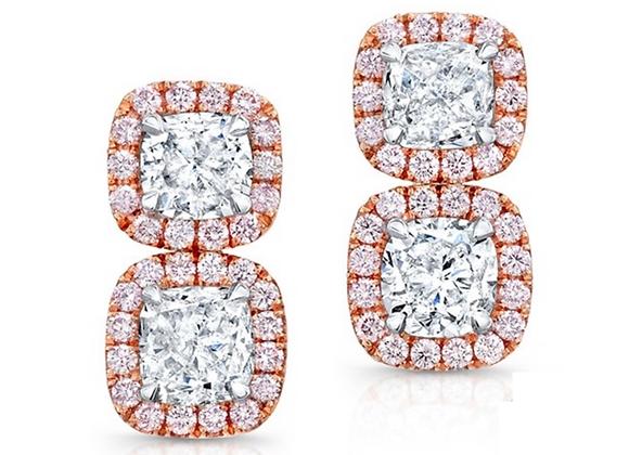 18K DIAMOND EARRINGS WITH PINK DIAMONDS