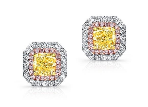 18K FANCY COLOR DIAMOND EARRINGS