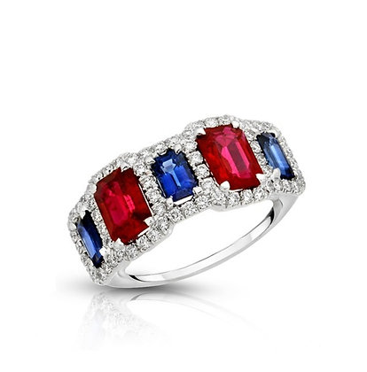 18K RUBY & SAPPHIRE DIAMOND RING