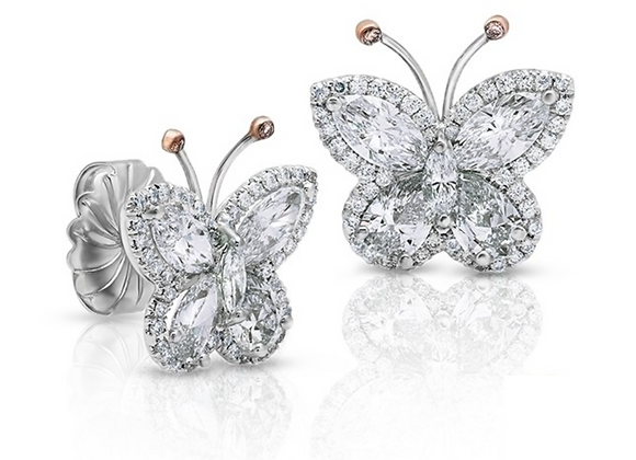 18K DIAMOND BUTTERFLY EARRINGS