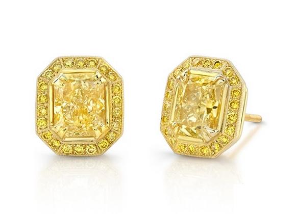 18K YELLOW DIAMOND EARRINGS