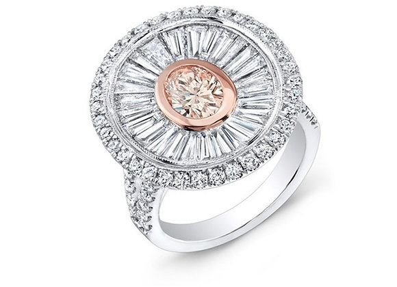 18K DIAMOND RING WITH PINK DIAMOND