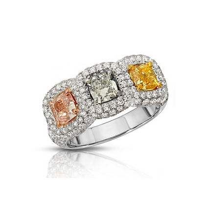 18K THREE-STONE FANCY COLOR DIAMOND RING