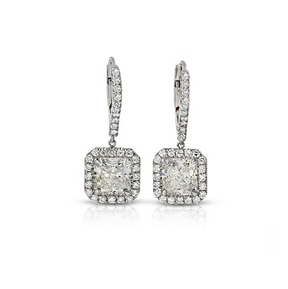 PLATINUM CUSHION-CUT DIAMOND EARRINGS