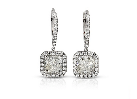 PLATINUM CUSHION-CUT DIAMOND EARRINGS