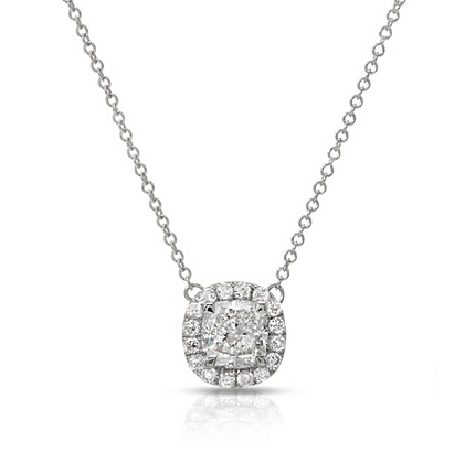 18K CUSHION-CUT DIAMOND PENDANT