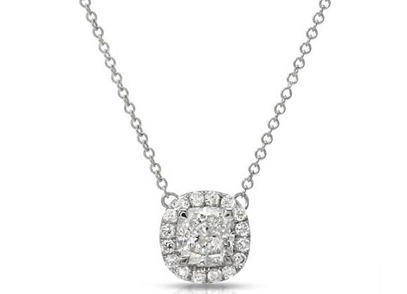 18K CUSHION-CUT DIAMOND PENDANT