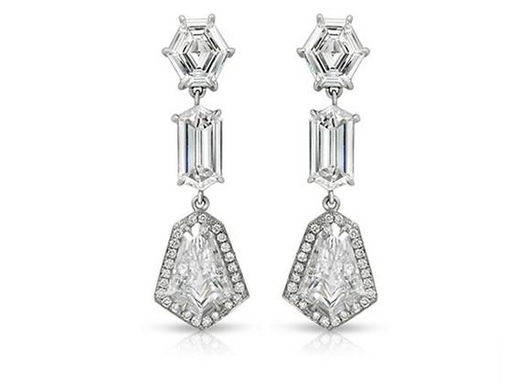 PLATINUM FANCY-SHAPE DIAMOND EARRINGS
