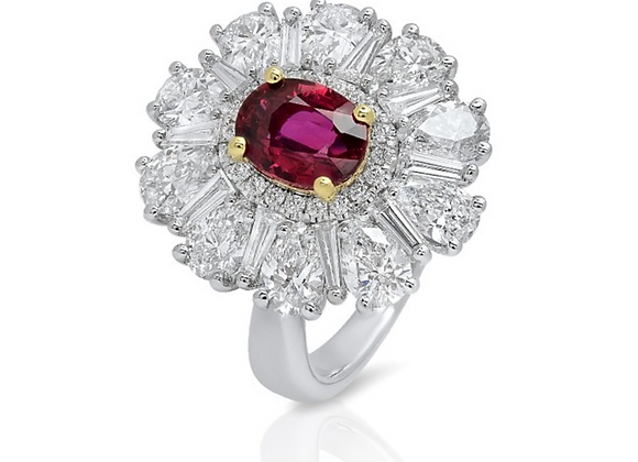 18K FANCY SHAPE DIAMOND RING WITH RED RUBY