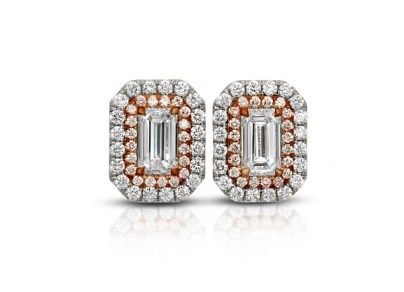 18K DIAMOND EARRINGS WITH PINK DIAMONDS