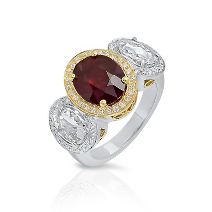 18K/PLATINUM RED RUBY DIAMOND RING