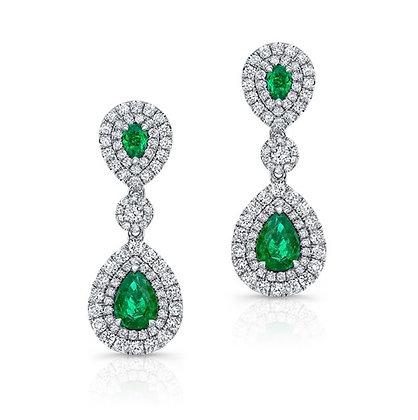 18K DIAMOND EARRINGS WITH GREEN EMERALDS