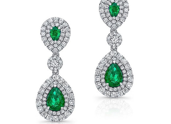 18K DIAMOND EARRINGS WITH GREEN EMERALDS