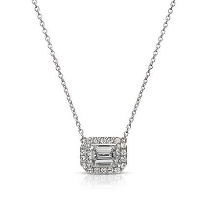 18K EMERALD-CUT DIAMOND PENDANT