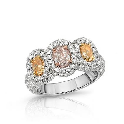 18KFANCY COLOR 3-STONE DIAMOND RING