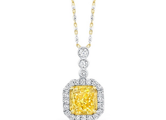 18K DIAMOND NECKLACE WITH YELLOW DIAMOND