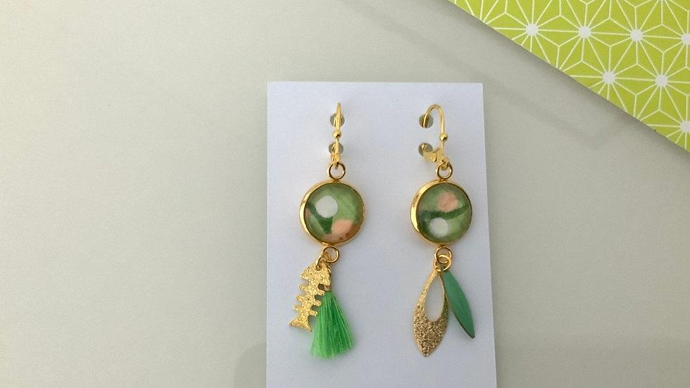 Boucles d'oreilles vertes