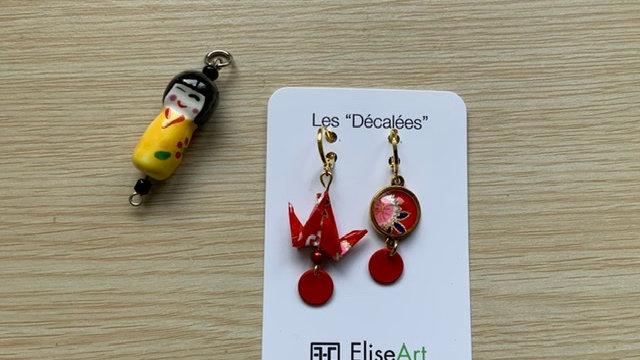 Boucles d'oreilles origami decallées rouge