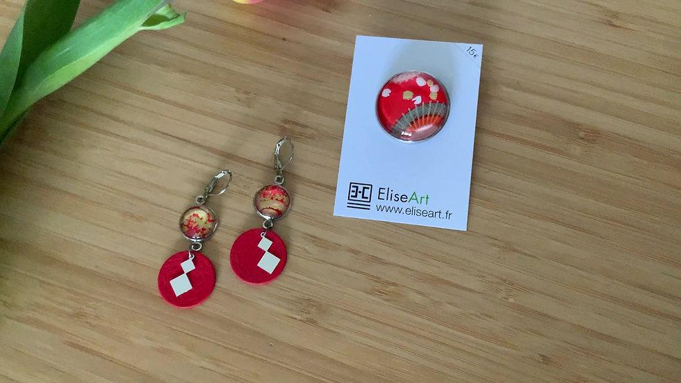 Ensemble :Boucles d'oreilles rouge et sa broche