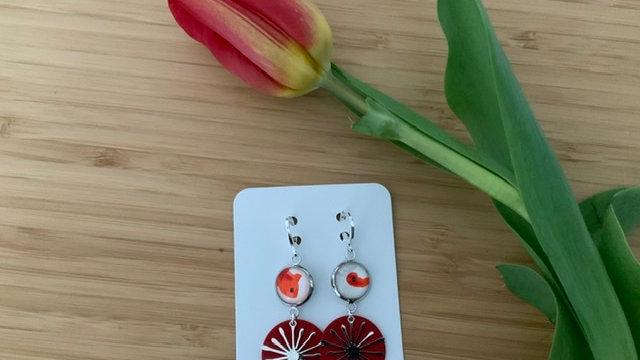 Boucles d'oreilles rouge étoiles