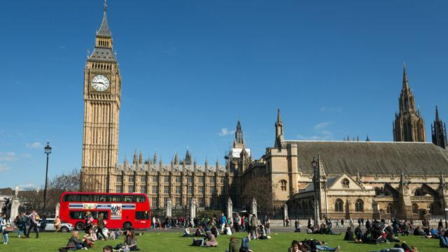 Parliament Square on a sunny day like October 31st, obviously too high quality to be my Picture