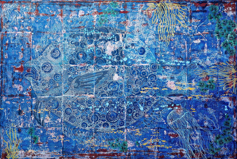 sole fish canvas paintings blue ocean