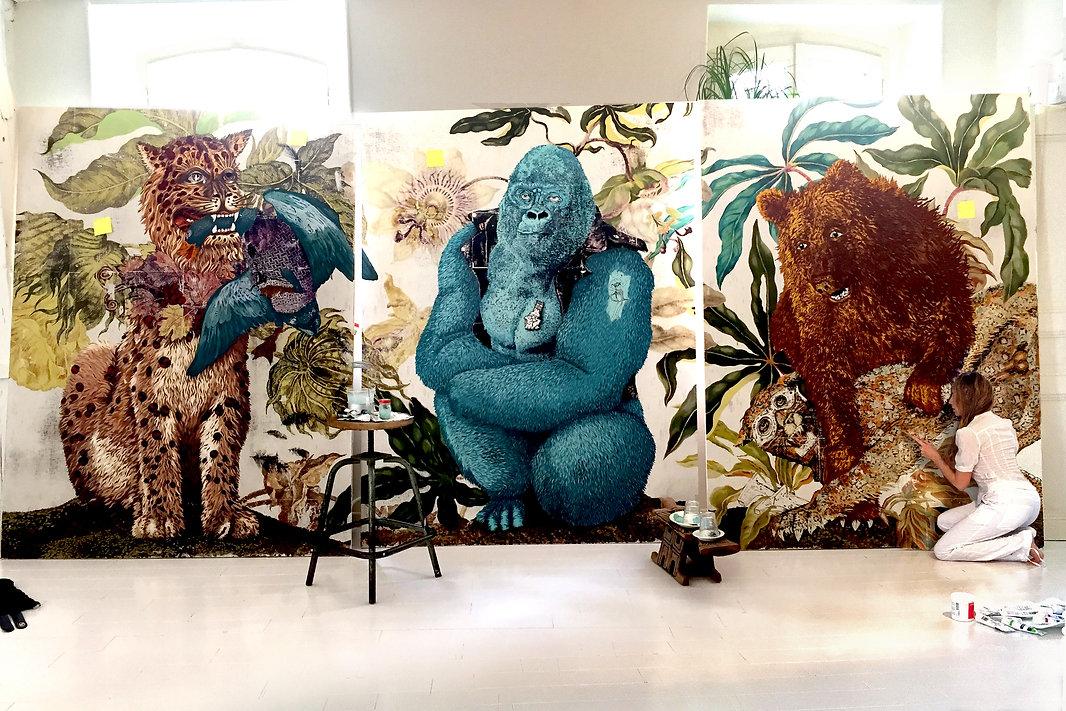 lion gorilla bear duck tiger plants paintings canvas art