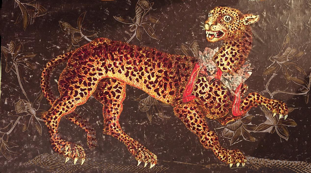 leopard canvas painting flower