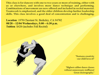 Dance on Center Fall Program - This Wednesday!