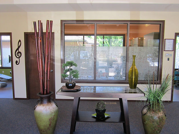 office waiting area with Asian-inspired design