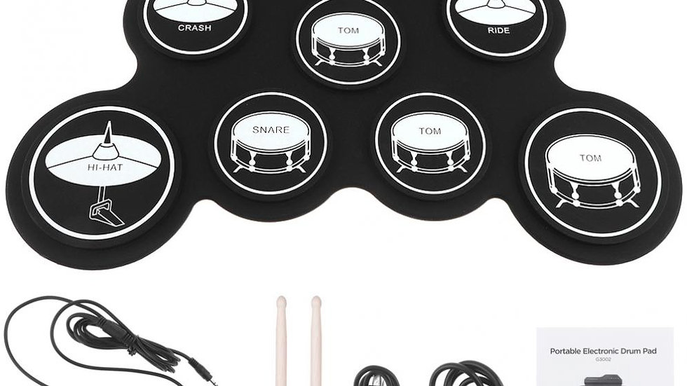 Portable Digital USB 7 Pads Roll Up Drum Set W/ Drumsticks and Sustain Pedal