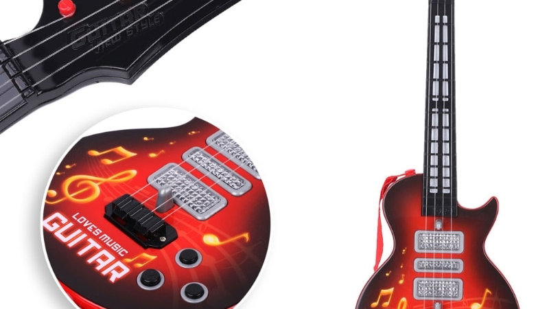 Music Electric Guitar 4 Strings Musical Instrument Educational Toy Kids Toy Gift