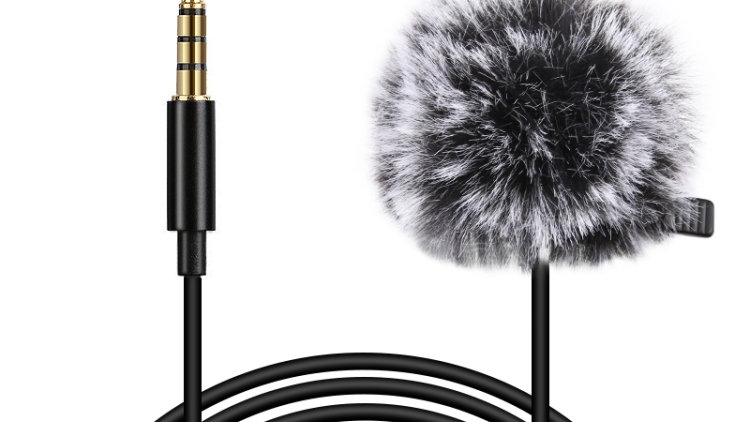 PULUZ 3m 3.5mm Jack Lavalier Condenser Microphone W/ Fur Windscreen